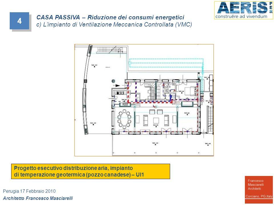 4 4 CASA PASSIVA – Riduzione dei consumi energetici c) Limpianto di Ventilazione Meccanica Controllata (VMC) Progetto esecutivo distribuzione aria, im