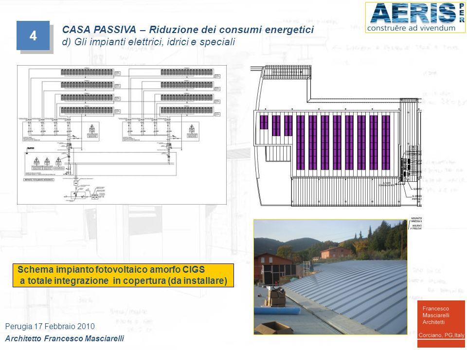 4 4 Schema impianto fotovoltaico amorfo CIGS a totale integrazione in copertura (da installare) Perugia 17 Febbraio 2010 Architetto Francesco Masciare