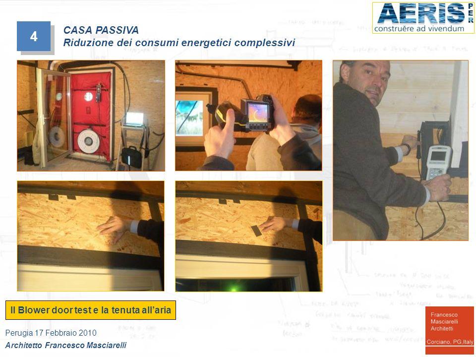 4 4 Il Blower door test e la tenuta allaria Perugia 17 Febbraio 2010 Architetto Francesco Masciarelli CASA PASSIVA Riduzione dei consumi energetici co