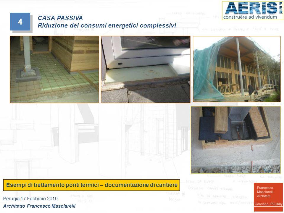 4 4 Esempi di trattamento ponti termici – documentazione di cantiere Perugia 17 Febbraio 2010 Architetto Francesco Masciarelli CASA PASSIVA Riduzione