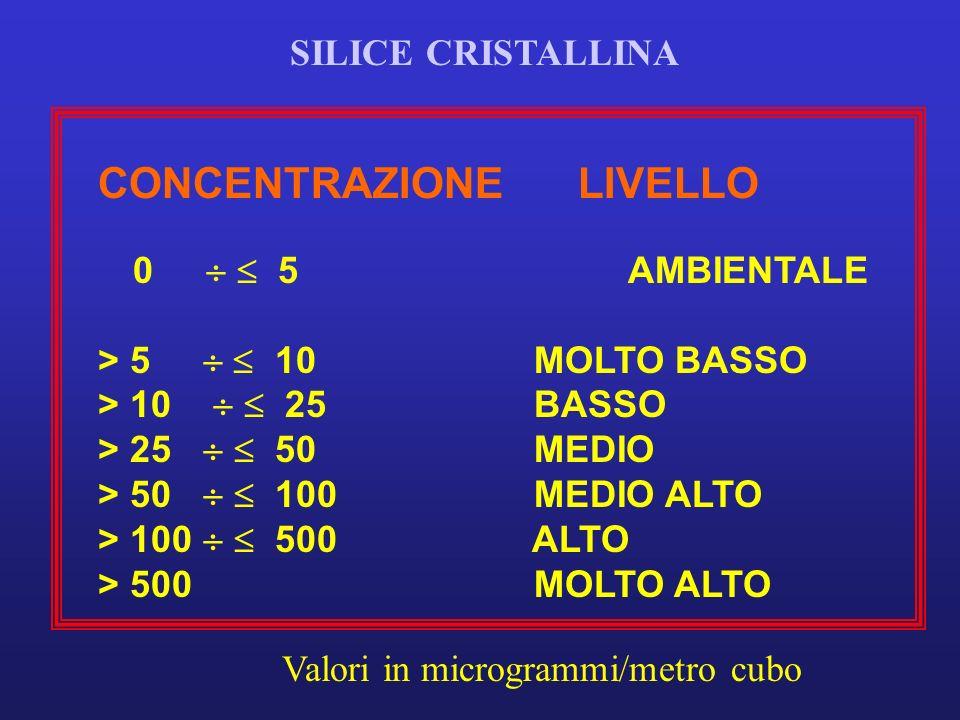 CONCENTRAZIONELIVELLO 0 5 AMBIENTALE > 5 10 MOLTO BASSO > 10 25 BASSO > 25 50 MEDIO > 50 100 MEDIO ALTO > 100 500 ALTO > 500 MOLTO ALTO Valori in microgrammi/metro cubo SILICE CRISTALLINA