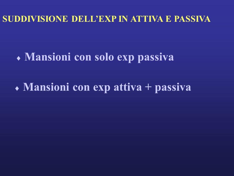 SUDDIVISIONE DELLEXP IN ATTIVA E PASSIVA Mansioni con solo exp passiva Mansioni con exp attiva + passiva