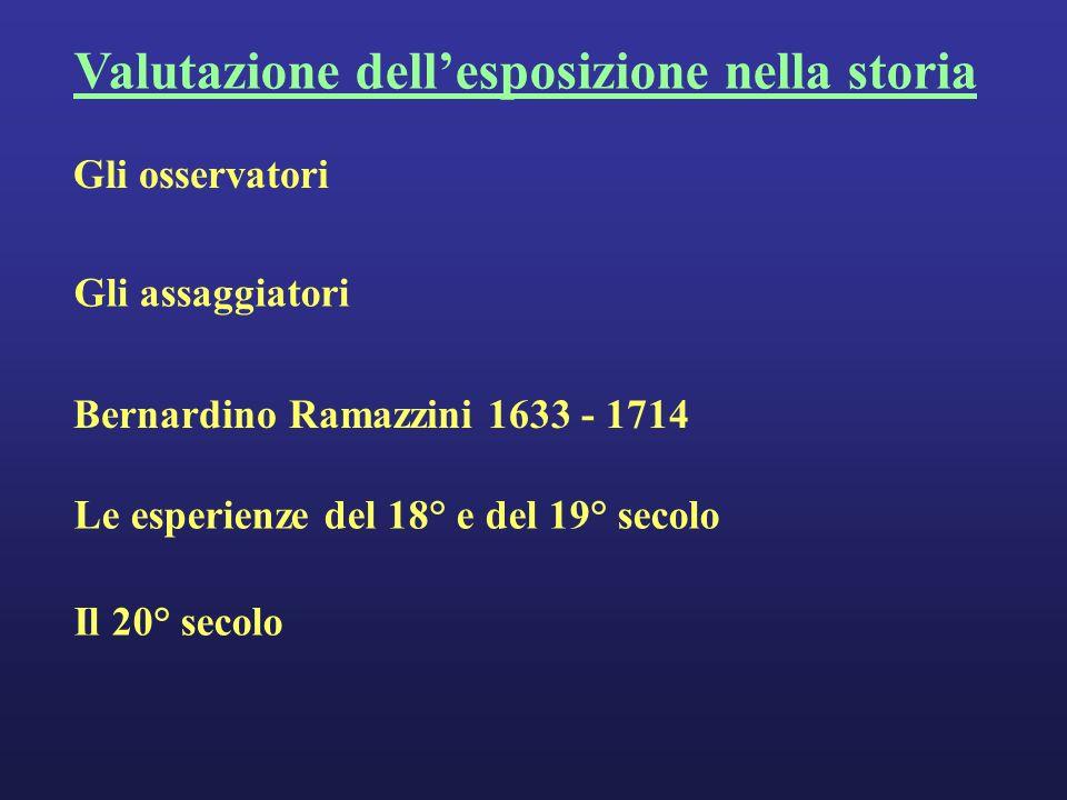 Valutazione dellesposizione nella storia Gli assaggiatori Gli osservatori Bernardino Ramazzini 1633 - 1714 Le esperienze del 18° e del 19° secolo Il 20° secolo