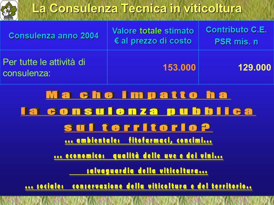 La Consulenza Tecnica in viticoltura Consulenza anno 2004 Valore totale stimato al prezzo di costo Contributo C.E.