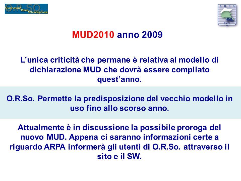 MUD2010 anno 2009 Lunica criticità che permane è relativa al modello di dichiarazione MUD che dovrà essere compilato questanno.