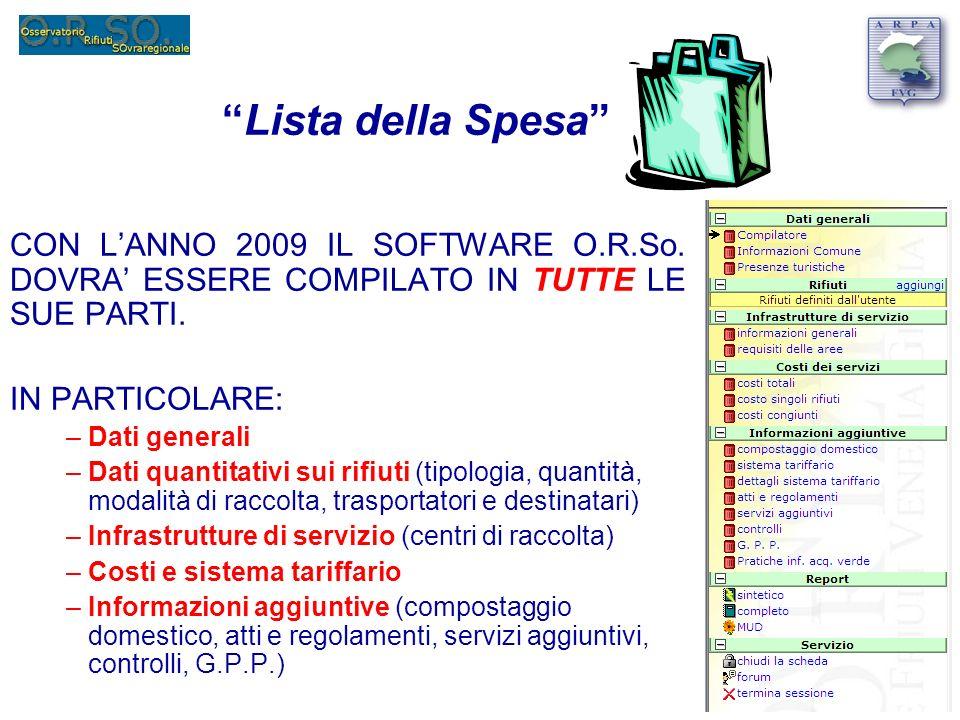 Lista della Spesa CON LANNO 2009 IL SOFTWARE O.R.So.