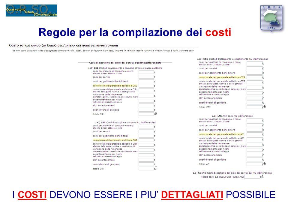 Regole per la compilazione dei costi I COSTI DEVONO ESSERE I PIU DETTAGLIATI POSSIBILE