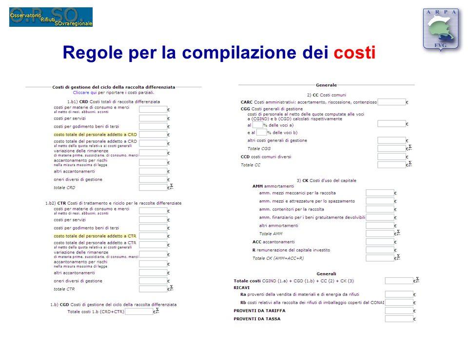 Regole per la compilazione dei costi