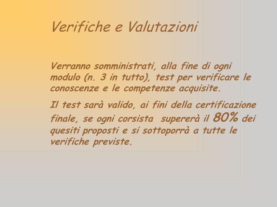 Verifiche e Valutazioni Verranno somministrati, alla fine di ogni modulo (n. 3 in tutto), test per verificare le conoscenze e le competenze acquisite.