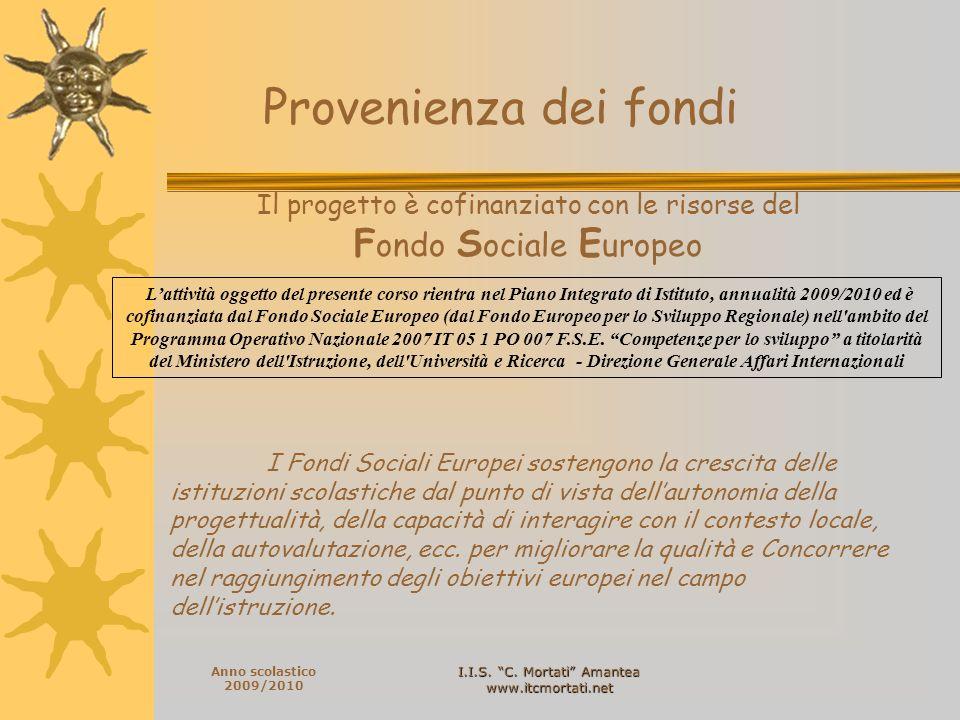 I.I.S.C. Mortati Amantea www.itcmortati.net Anno scolastico 2009/2010 Direttore del Corso Prof.