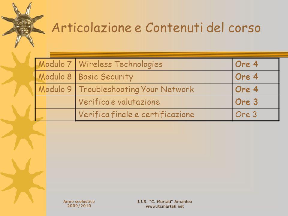 I.I.S. C. Mortati Amantea www.itcmortati.net Anno scolastico 2009/2010 Articolazione e Contenuti del corso Modulo 7Wireless TechnologiesOre 4 Modulo 8