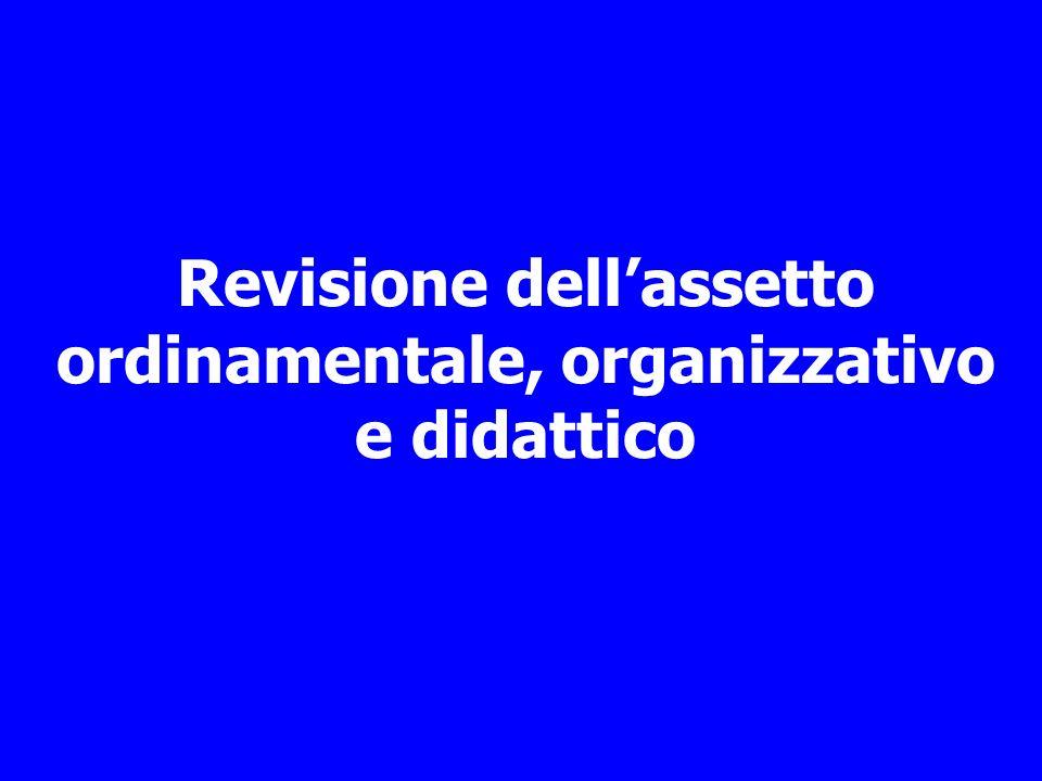 Revisione dellassetto ordinamentale, organizzativo e didattico