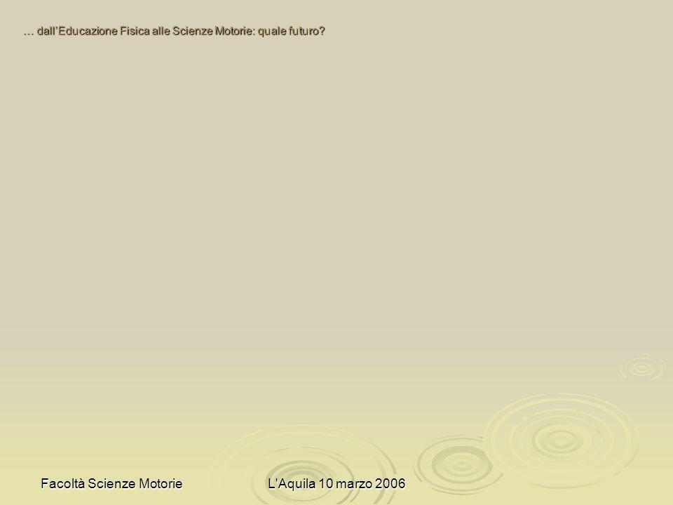 Facoltà Scienze MotorieL Aquila 10 marzo 2006 … dallEducazione Fisica alle Scienze Motorie: quale futuro?