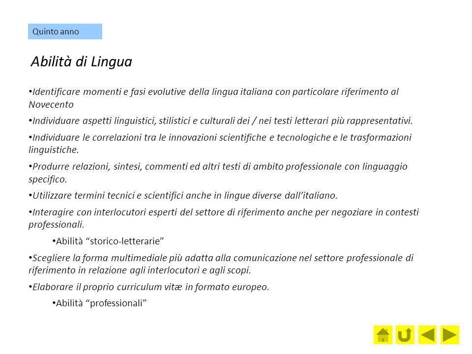 Abilità di Lingua Identificare momenti e fasi evolutive della lingua italiana con particolare riferimento al Novecento Individuare aspetti linguistici