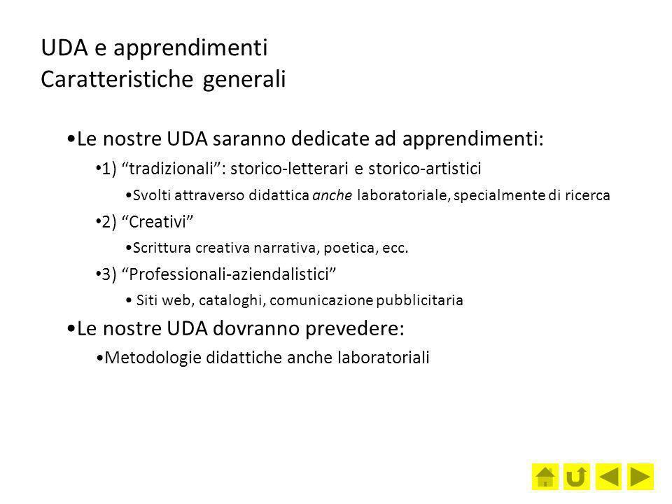 UDA e apprendimenti Caratteristiche generali Le nostre UDA saranno dedicate ad apprendimenti: 1) tradizionali: storico-letterari e storico-artistici S