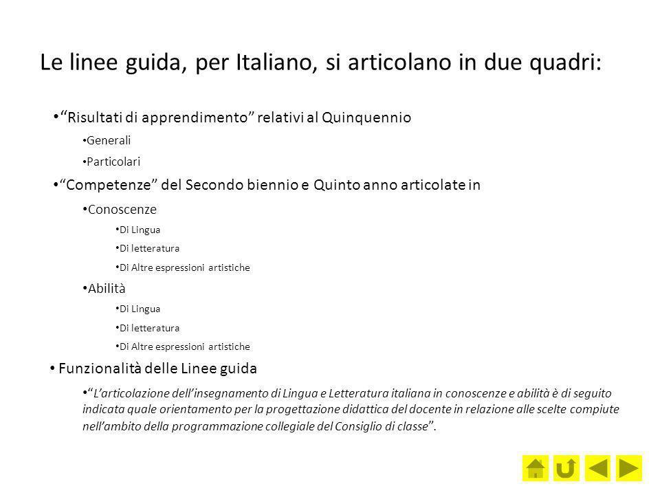 Le linee guida, per Italiano, si articolano in due quadri: Risultati di apprendimento relativi al Quinquennio Generali Particolari Competenze del Seco