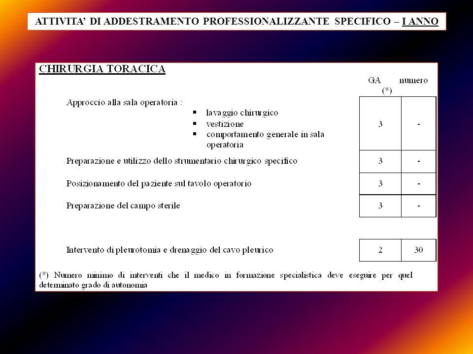 ATTIVITA DI ADDESTRAMENTO PROFESSIONALIZZANTE SPECIFICO – I ANNO