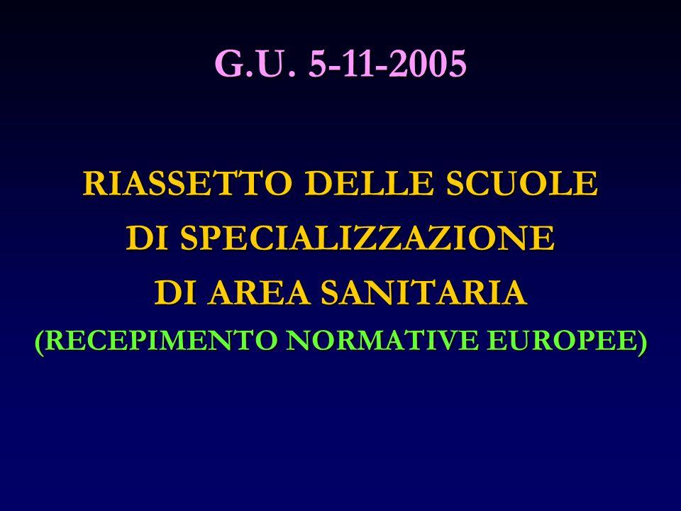 G.U. 5-11-2005 RIASSETTO DELLE SCUOLE DI SPECIALIZZAZIONE DI AREA SANITARIA (RECEPIMENTO NORMATIVE EUROPEE)