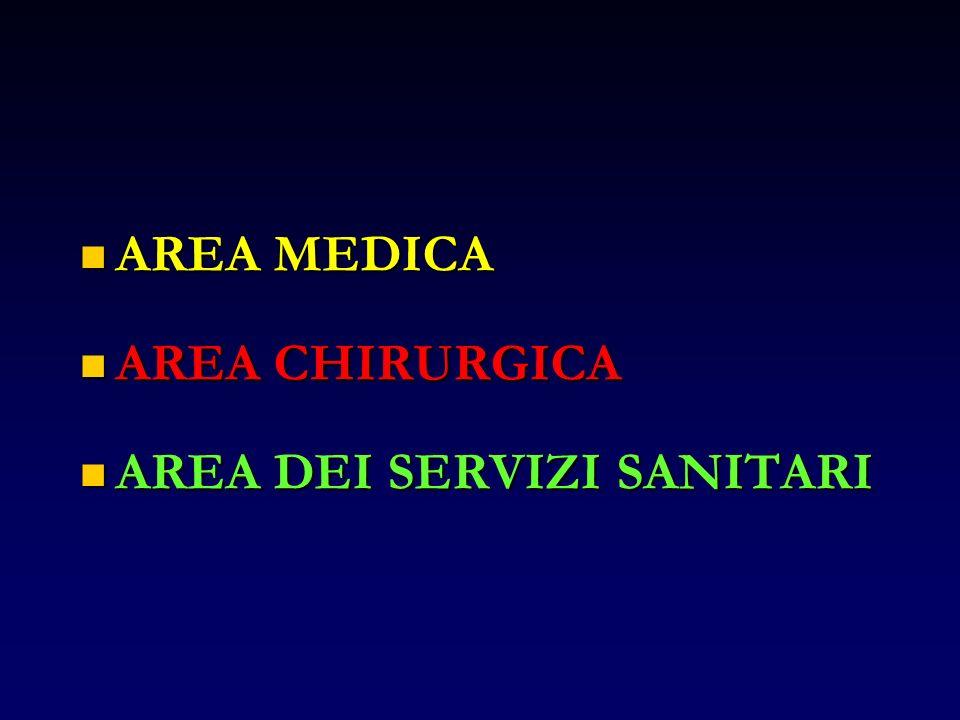 AREA MEDICA AREA MEDICA AREA CHIRURGICA AREA CHIRURGICA AREA DEI SERVIZI SANITARI AREA DEI SERVIZI SANITARI