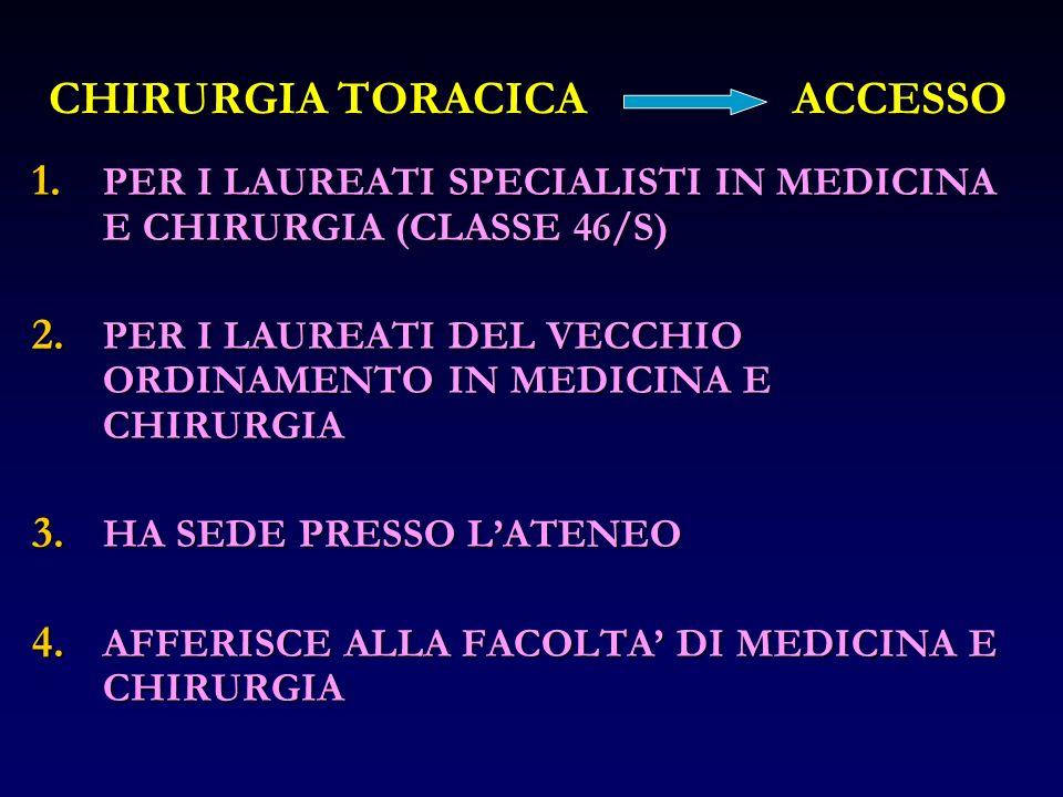 CHIRURGIA TORACICAACCESSO 1. PER I LAUREATI SPECIALISTI IN MEDICINA E CHIRURGIA (CLASSE 46/S) 2. PER I LAUREATI DEL VECCHIO ORDINAMENTO IN MEDICINA E