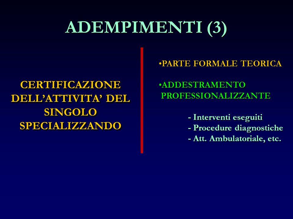 CERTIFICAZIONE DELLATTIVITA DEL SINGOLO SPECIALIZZANDO ADEMPIMENTI (3) PARTE FORMALE TEORICA ADDESTRAMENTO PROFESSIONALIZZANTE - Interventi eseguiti -