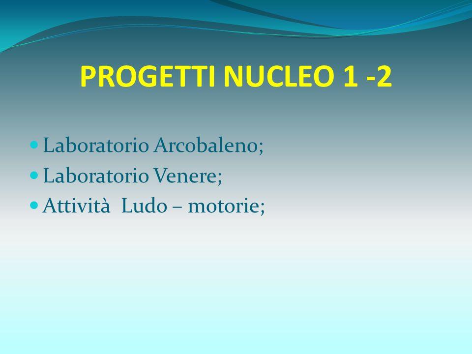 PROGETTI NUCLEO 1 -2 Laboratorio Arcobaleno; Laboratorio Venere; Attività Ludo – motorie;