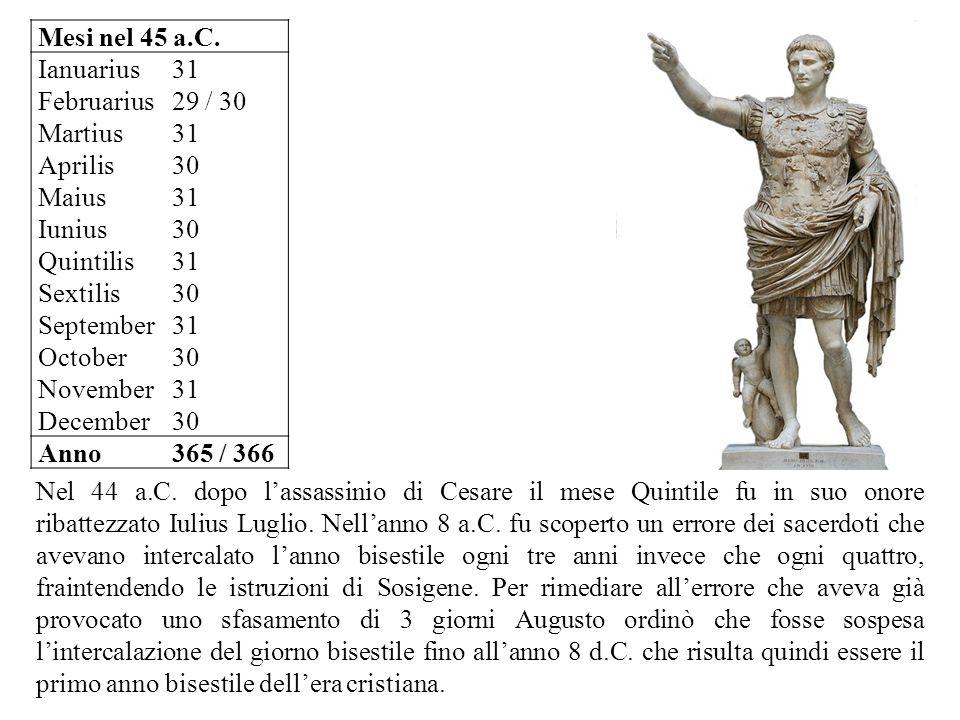 Nel 44 a.C. dopo lassassinio di Cesare il mese Quintile fu in suo onore ribattezzato Iulius Luglio. Nellanno 8 a.C. fu scoperto un errore dei sacerdot