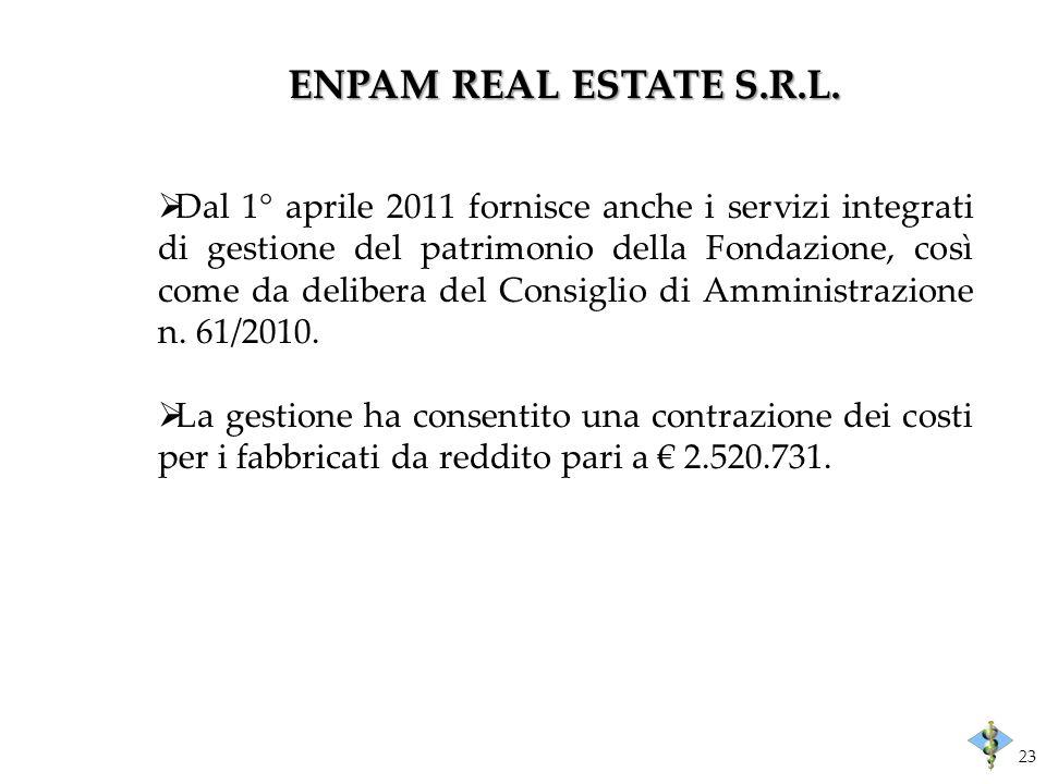 ENPAM REAL ESTATE S.R.L. Dal 1° aprile 2011 fornisce anche i servizi integrati di gestione del patrimonio della Fondazione, così come da delibera del
