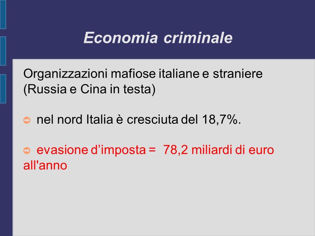 Economia criminale Organizzazioni mafiose italiane e straniere (Russia e Cina in testa) nel nord Italia è cresciuta del 18,7%. evasione dimposta = 78,