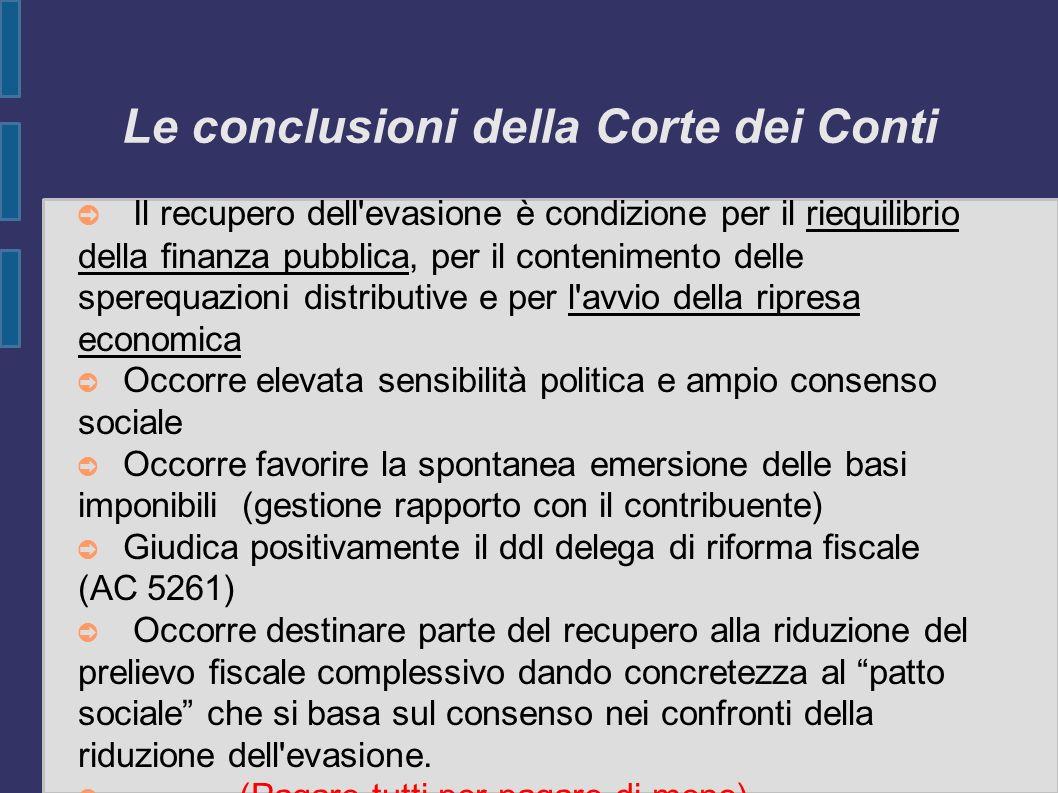 Le conclusioni della Corte dei Conti Il recupero dell'evasione è condizione per il riequilibrio della finanza pubblica, per il contenimento delle sper
