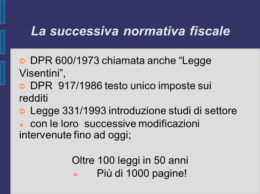 La successiva normativa fiscale DPR 600/1973 chiamata anche Legge Visentini, DPR 917/1986 testo unico imposte sui redditi Legge 331/1993 introduzione
