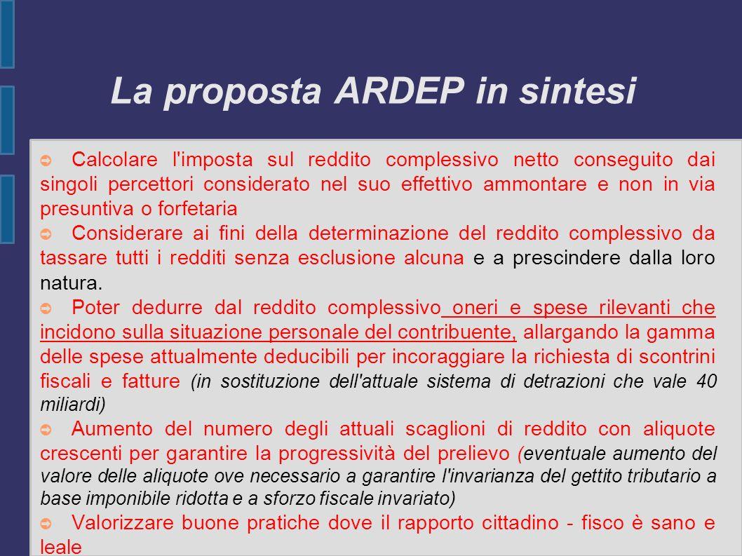 La proposta ARDEP in sintesi Calcolare l'imposta sul reddito complessivo netto conseguito dai singoli percettori considerato nel suo effettivo ammonta