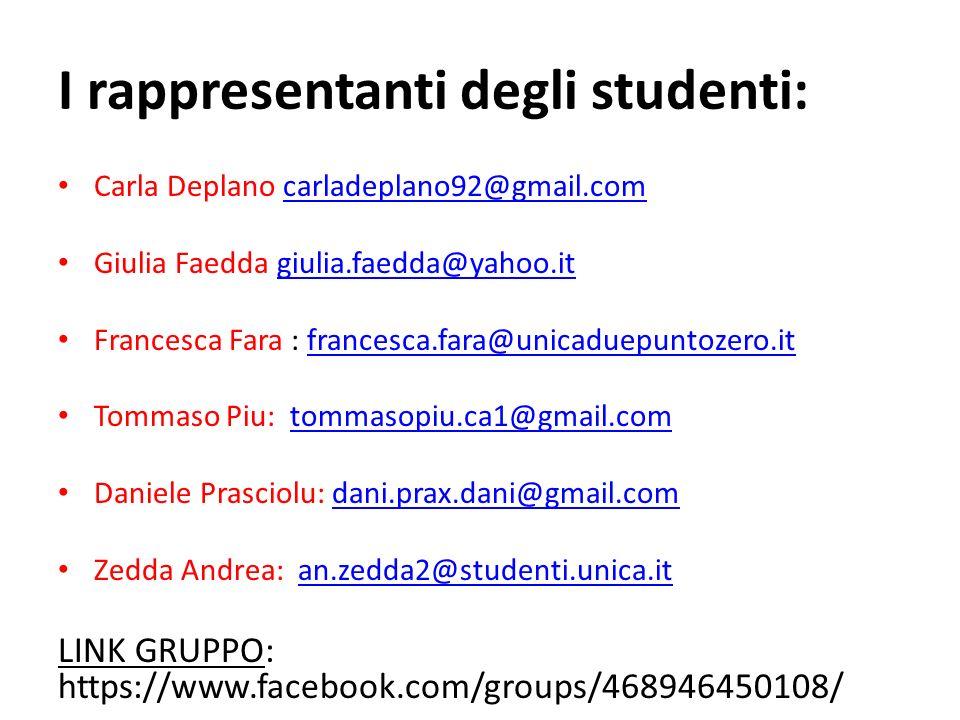 I rappresentanti degli studenti: Carla Deplano carladeplano92@gmail.comcarladeplano92@gmail.com Giulia Faedda giulia.faedda@yahoo.itgiulia.faedda@yaho