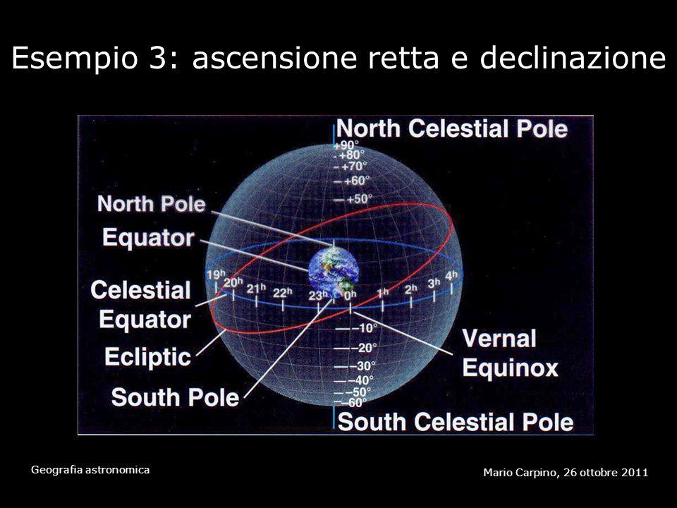 Esempio 3: ascensione retta e declinazione Mario Carpino, 26 ottobre 2011 Geografia astronomica