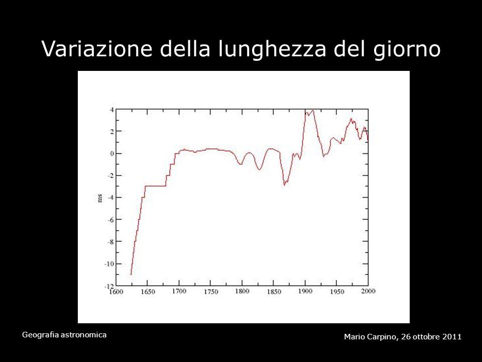 Variazione della lunghezza del giorno Mario Carpino, 26 ottobre 2011 Geografia astronomica