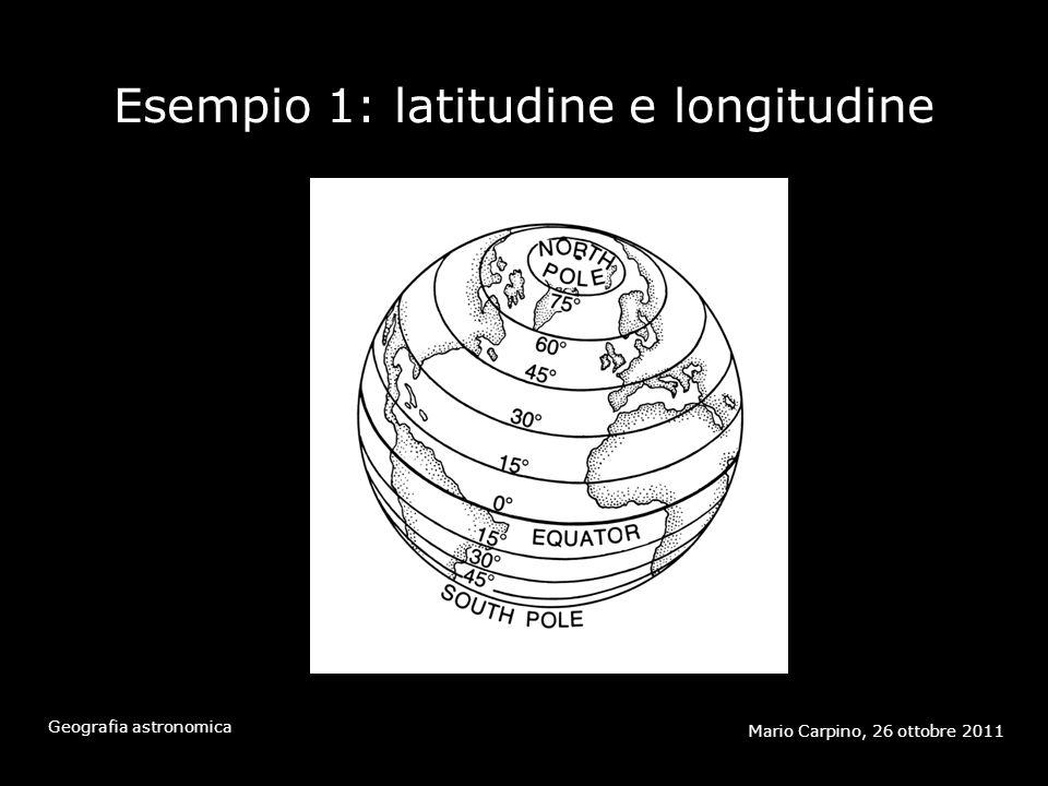 Esempio 1: latitudine e longitudine Mario Carpino, 26 ottobre 2011 Geografia astronomica