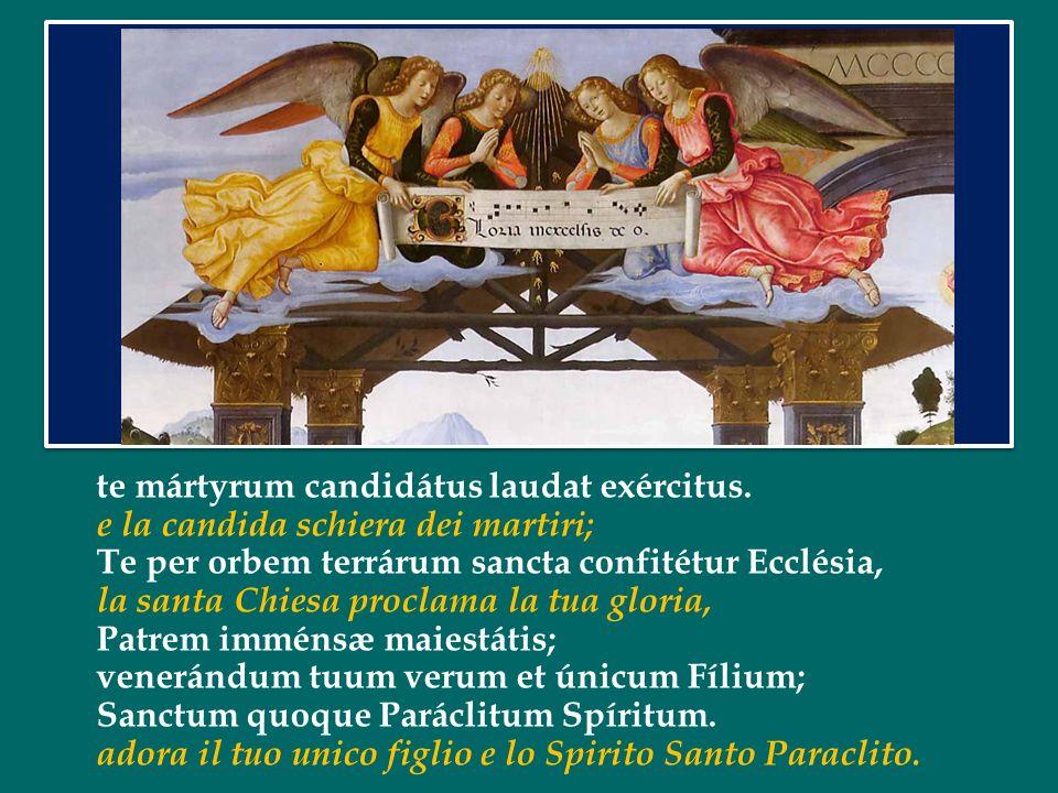 Sanctus, Sanctus, Sanctus, Dóminus Deus Sábaoth. Santo, Santo, Santo il Signore Dio dell'universo. Pleni sunt cæli et terra maiestátis glóriæ tuae. I