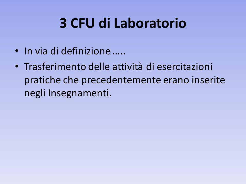 3 CFU di Laboratorio In via di definizione …..