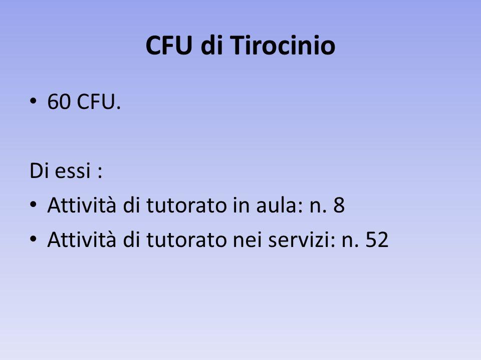 CFU di Tirocinio 60 CFU.Di essi : Attività di tutorato in aula: n.