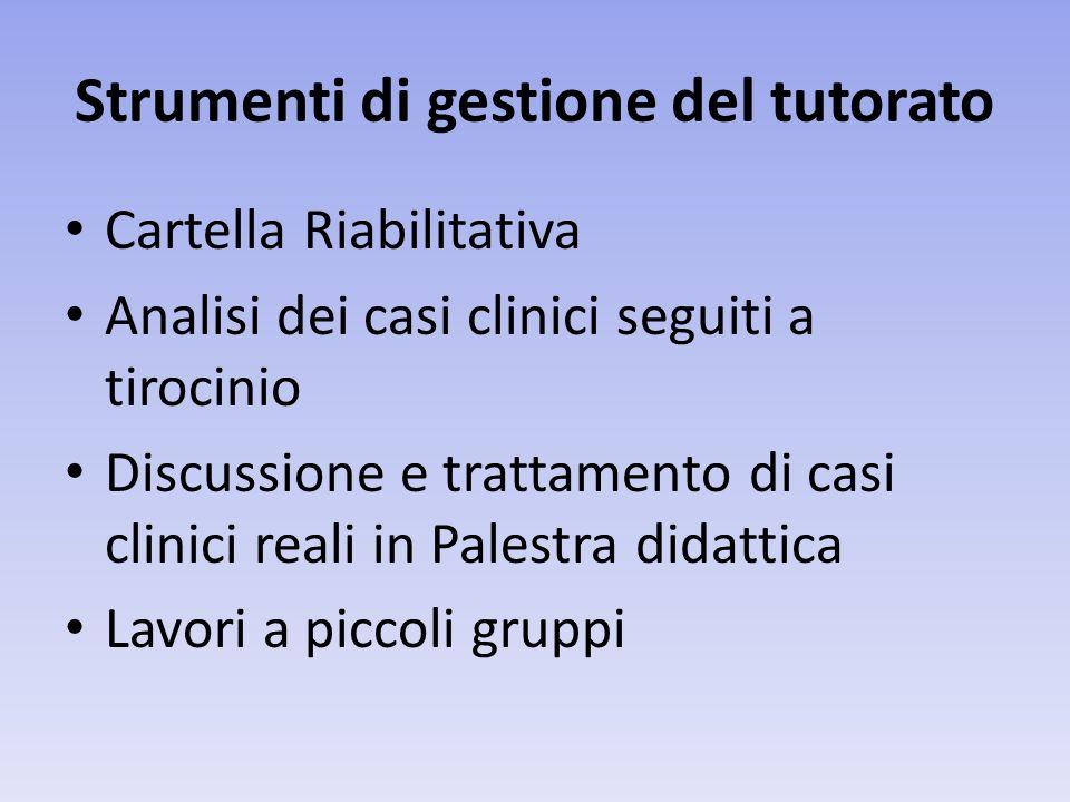 Strumenti di gestione del tutorato Cartella Riabilitativa Analisi dei casi clinici seguiti a tirocinio Discussione e trattamento di casi clinici reali in Palestra didattica Lavori a piccoli gruppi