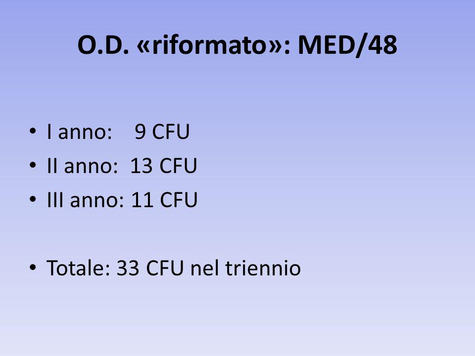 O.D. «riformato»: MED/48 I anno: 9 CFU II anno: 13 CFU III anno: 11 CFU Totale: 33 CFU nel triennio