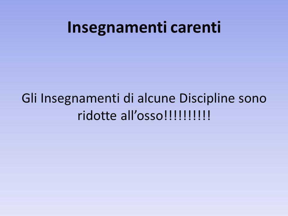 Insegnamenti carenti Gli Insegnamenti di alcune Discipline sono ridotte allosso!!!!!!!!!!