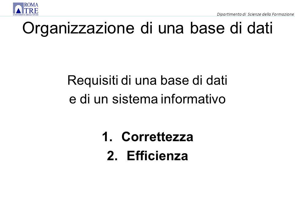 Organizzazione di una base di dati Requisiti di una base di dati e di un sistema informativo 1.Correttezza 2.Efficienza Dipartimento di Scienze della Formazione