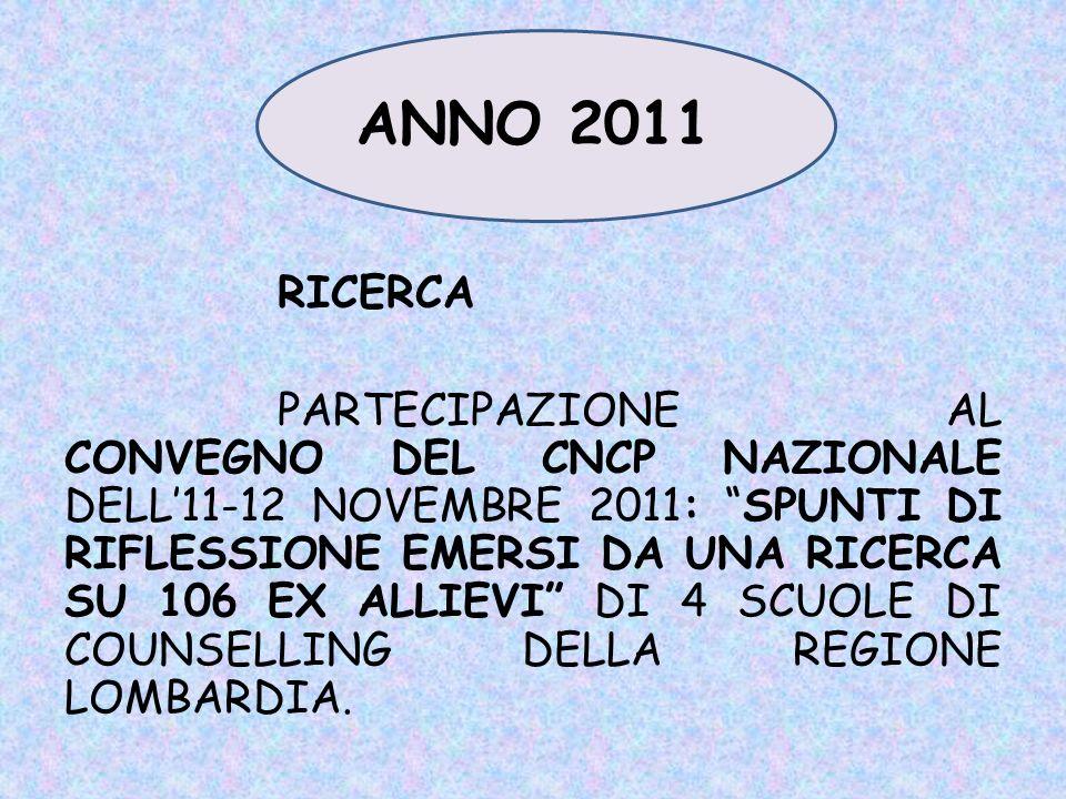 16 OTTOBRE 2010 1^ GIORNATA FORMATIVA: Lintervento di counselling: potenzialità e prospettive.