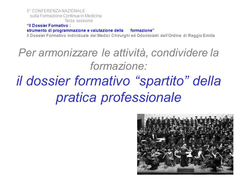 Per armonizzare le attività, condividere la formazione: il dossier formativo spartito della pratica professionale 5° CONFERENZA NAZIONALE sulla Formaz