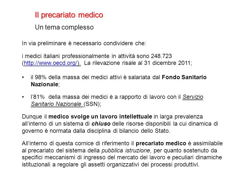 Il precariato medico Un tema complesso In via preliminare è necessario condividere che: i medici italiani professionalmente in attività sono 248.723 (http://www.oecd.org/).