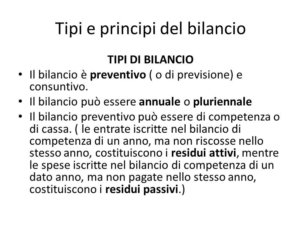 Tipi e principi del bilancio TIPI DI BILANCIO Il bilancio è preventivo ( o di previsione) e consuntivo.