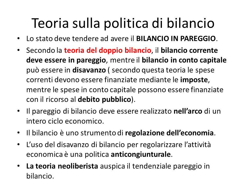Teoria sulla politica di bilancio Lo stato deve tendere ad avere il BILANCIO IN PAREGGIO.