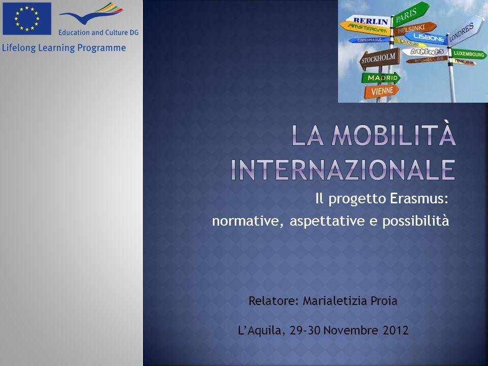 Il progetto Erasmus: normative, aspettative e possibilità Relatore: Marialetizia Proia LAquila, 29-30 Novembre 2012
