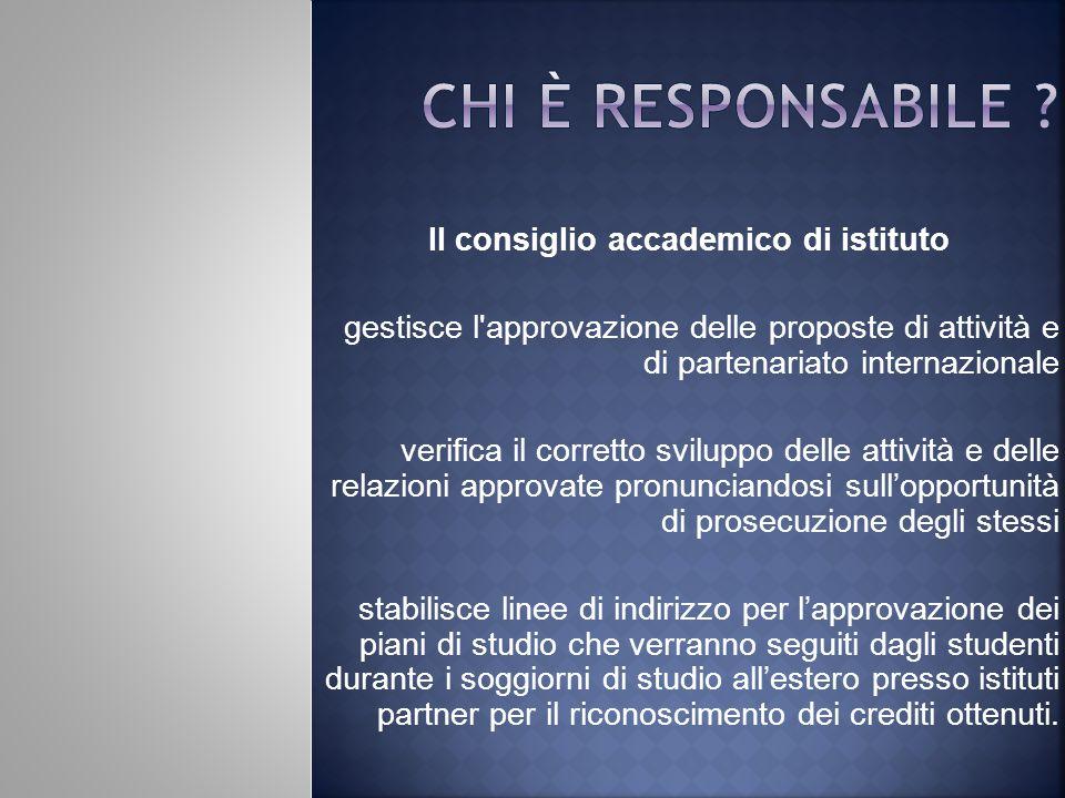 Il consiglio accademico di istituto gestisce l'approvazione delle proposte di attività e di partenariato internazionale verifica il corretto sviluppo